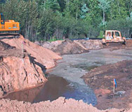 Construction within wetlands.
